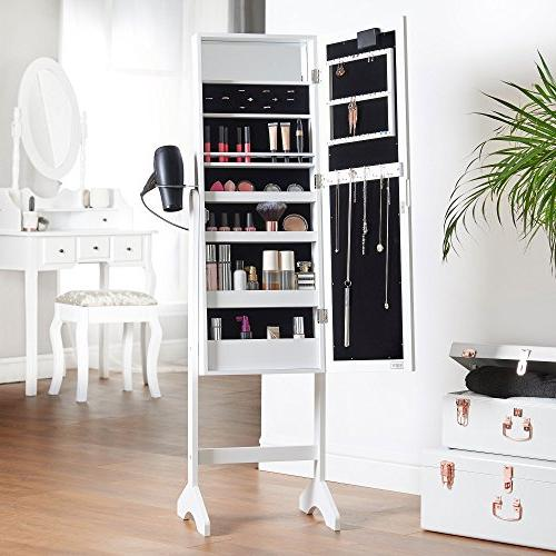 Armoire Floor Standing Organizer Cabinet with Internal Mirror