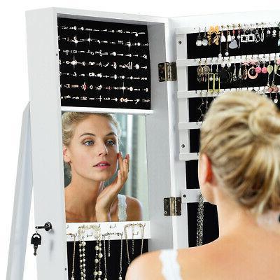 Mirrored Armoire Lockable Standing Storage W/