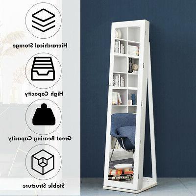 Mirrored Armoire Lockable Standing Storage W/ Shelf