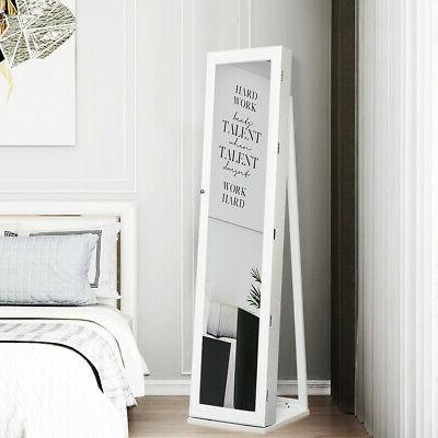 Mirrored Lockable Standing Storage W/ Shelf