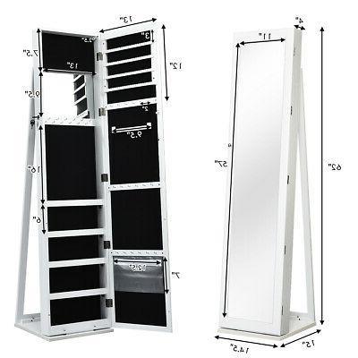 Mirrored Cabinet Lockable Standing Storage Organizer W/