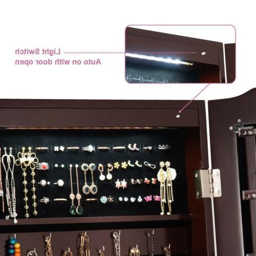 Mirrored Jewelry Mirror Storage Box W/Stand