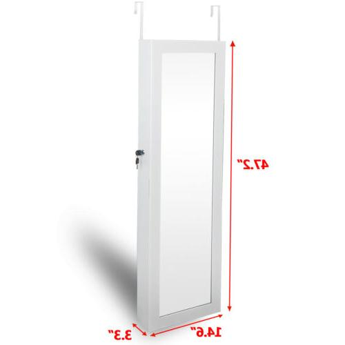 Wall Door Mounted Mirror Jewelry Cabinet Lockable Armoire Or