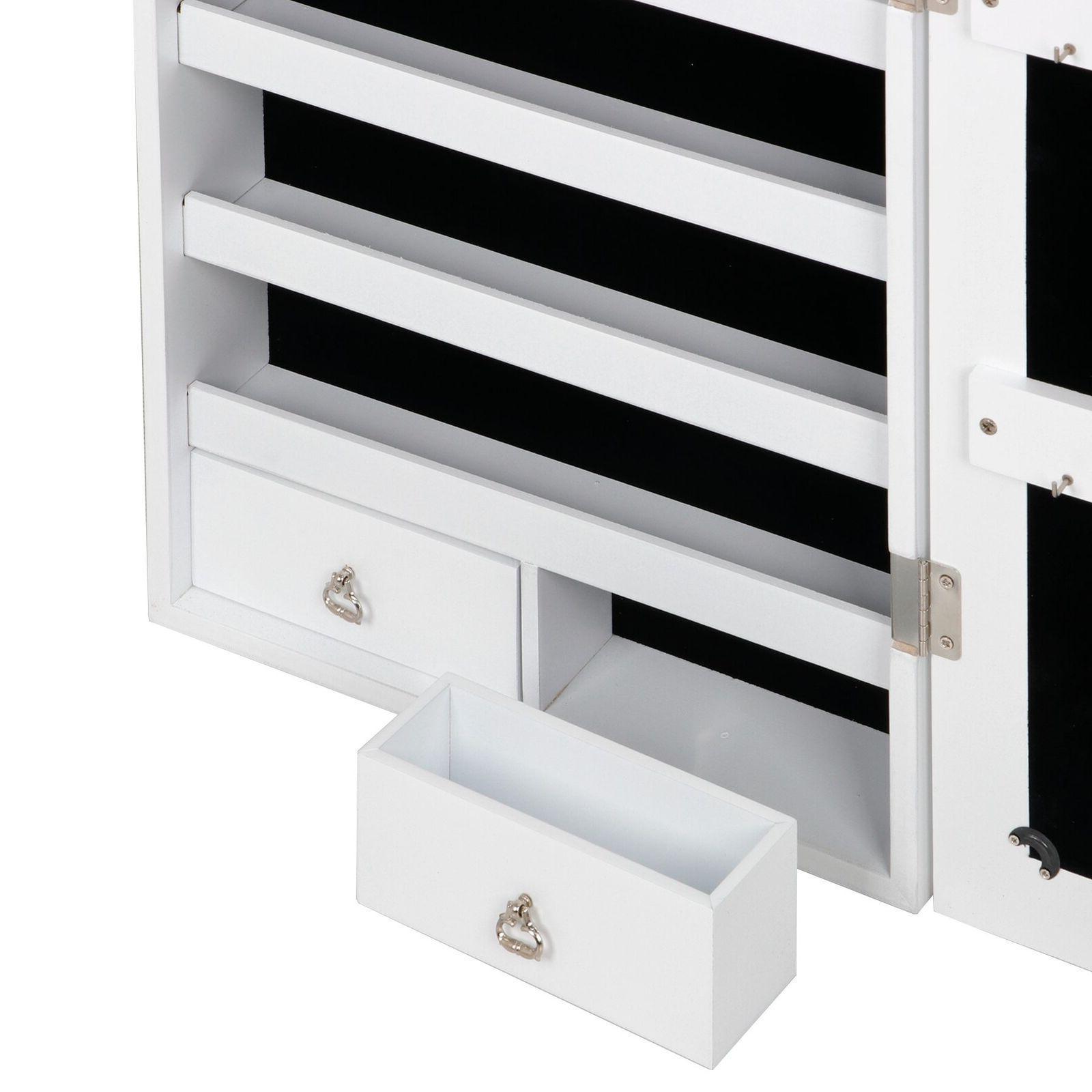 Mirrored Jewelry Cabinet Storage White Finish