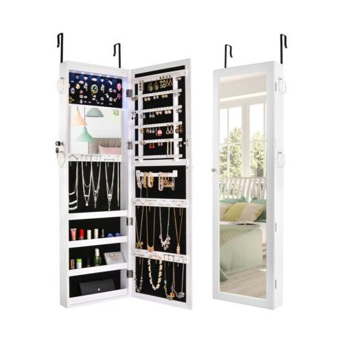 mirrored jewelry cabinet lockable armoire organizer wall