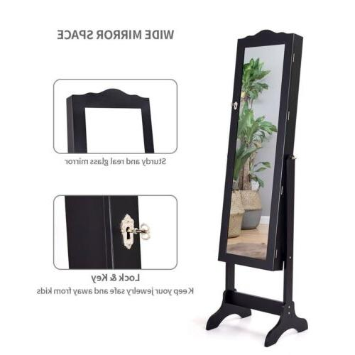 Mirrored Jewelry Armoire Makeup Organizer Box Stand