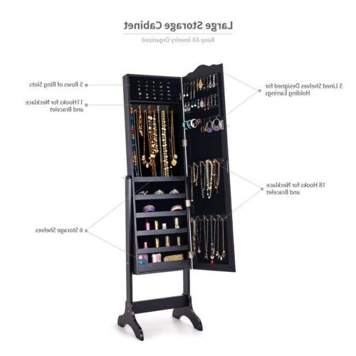 Mirrored Jewelry Armoire Makeup Box Stand