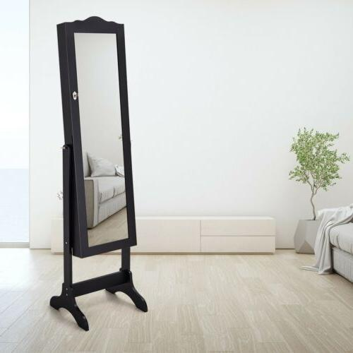 Mirrored Armoire Makeup Organizer Box Stand