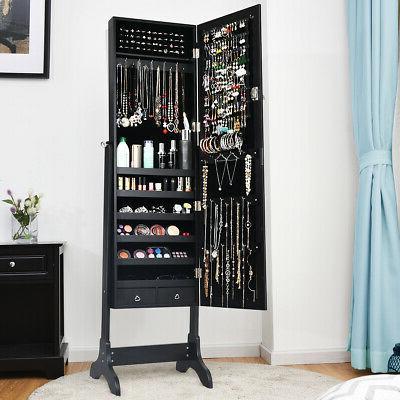 Lockable Mirrored Armoire Organizer w/ Drawers Black