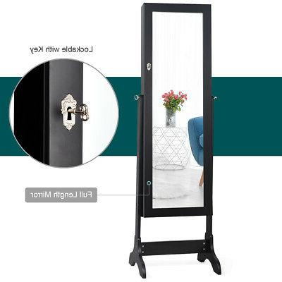 Lockable Jewelry Cabinet Armoire w/ Black