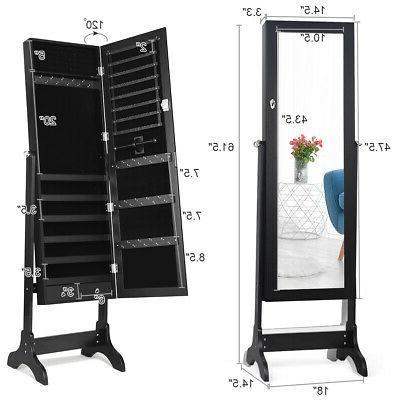 Lockable Mirrored Jewelry Armoire Box w/