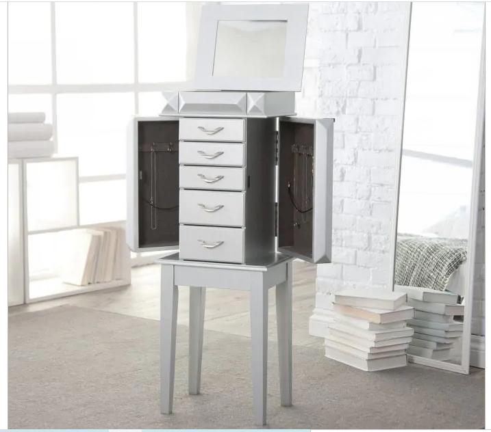 Modern Glam Free Standing Jewelry Armoire Box Holder Small T