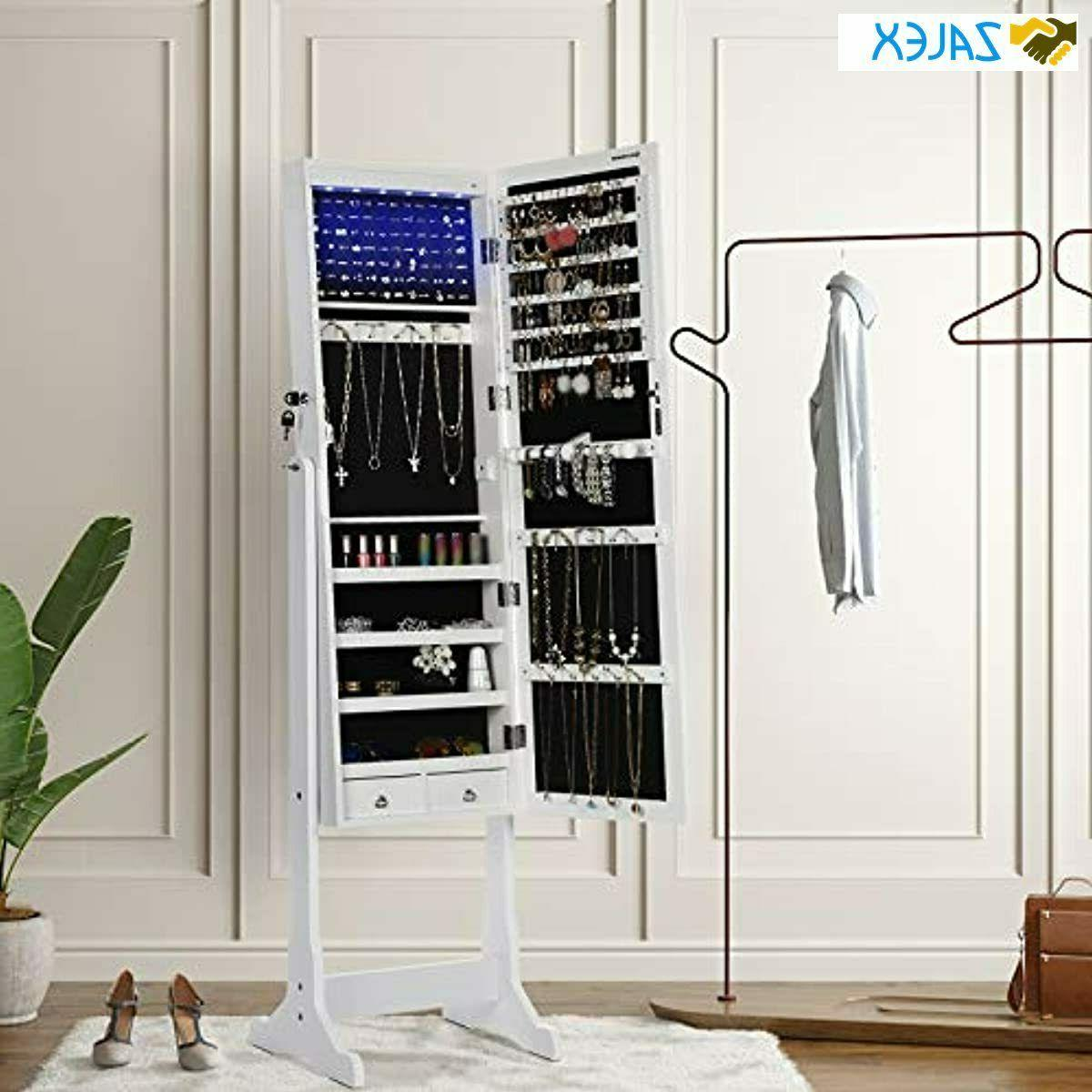 SONGMICS Cabinet Lockable Standing Mirrored Armoire 2