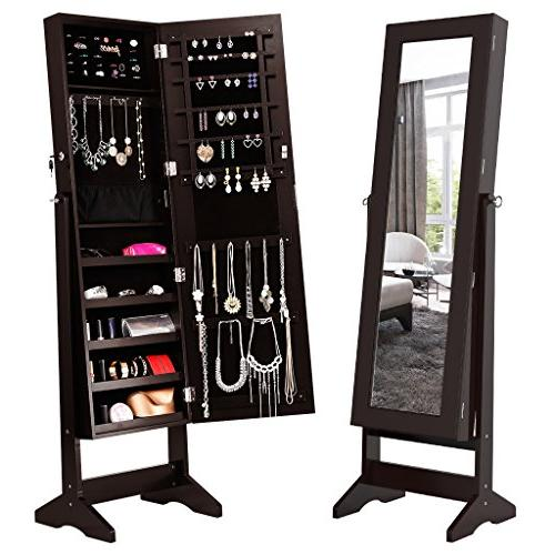LANGRIA Lockable Jewelry Cabinet Jewelry Armoire with Mirror