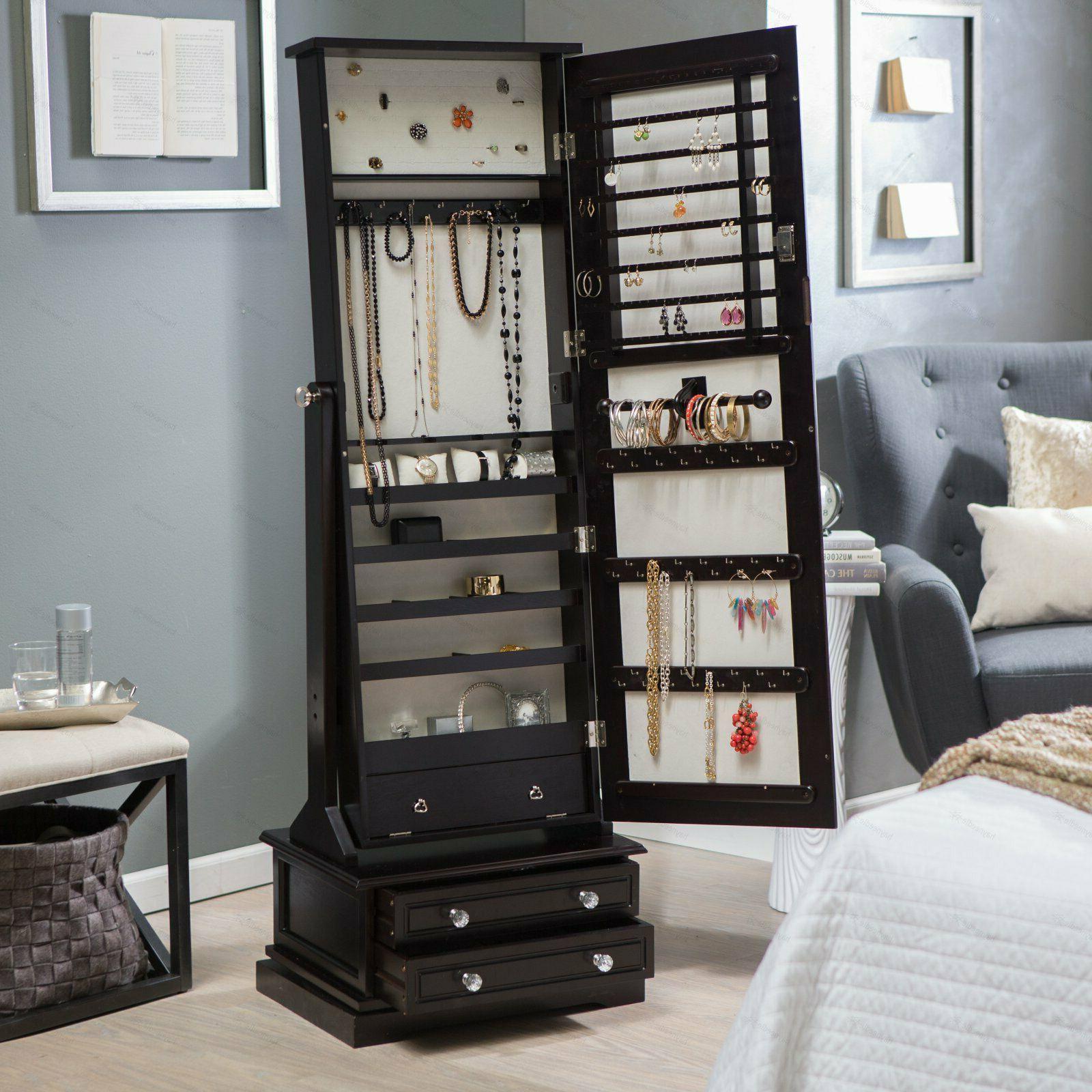 swivel mirror jewelry organizer armoire storage