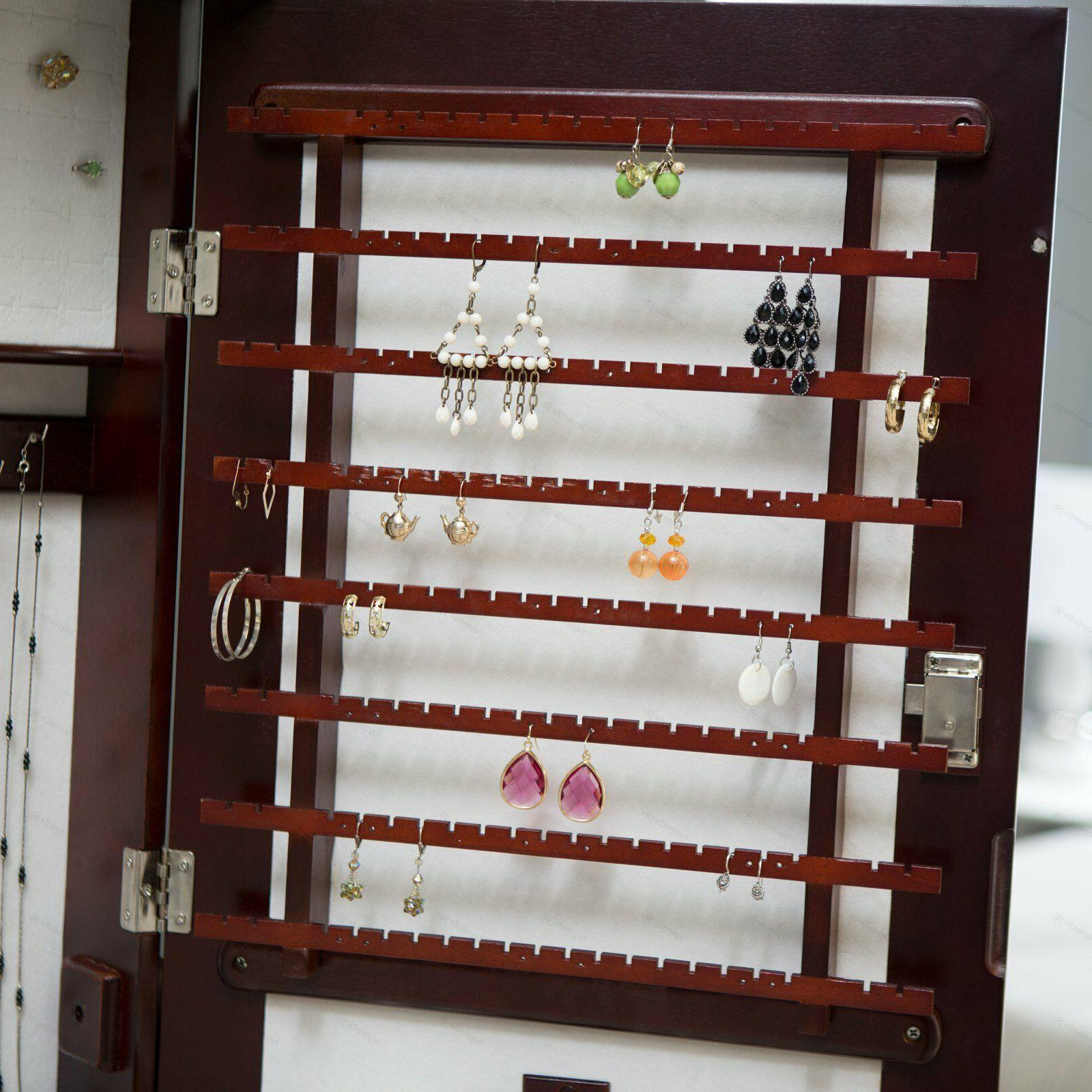 Swivel Mirror Jewelry Armoire with Solid