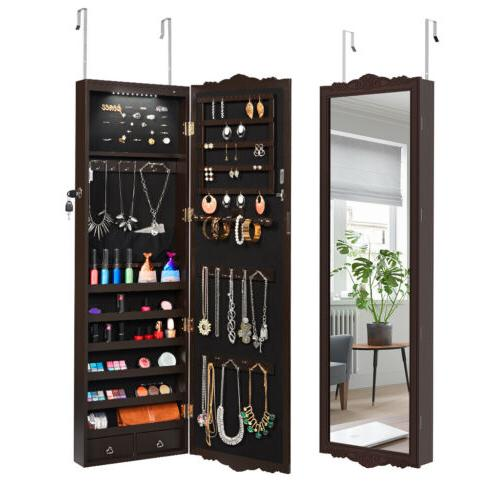 Lockable Wall Mount Hanging Jewelry Cabinet Armoire Mirror L
