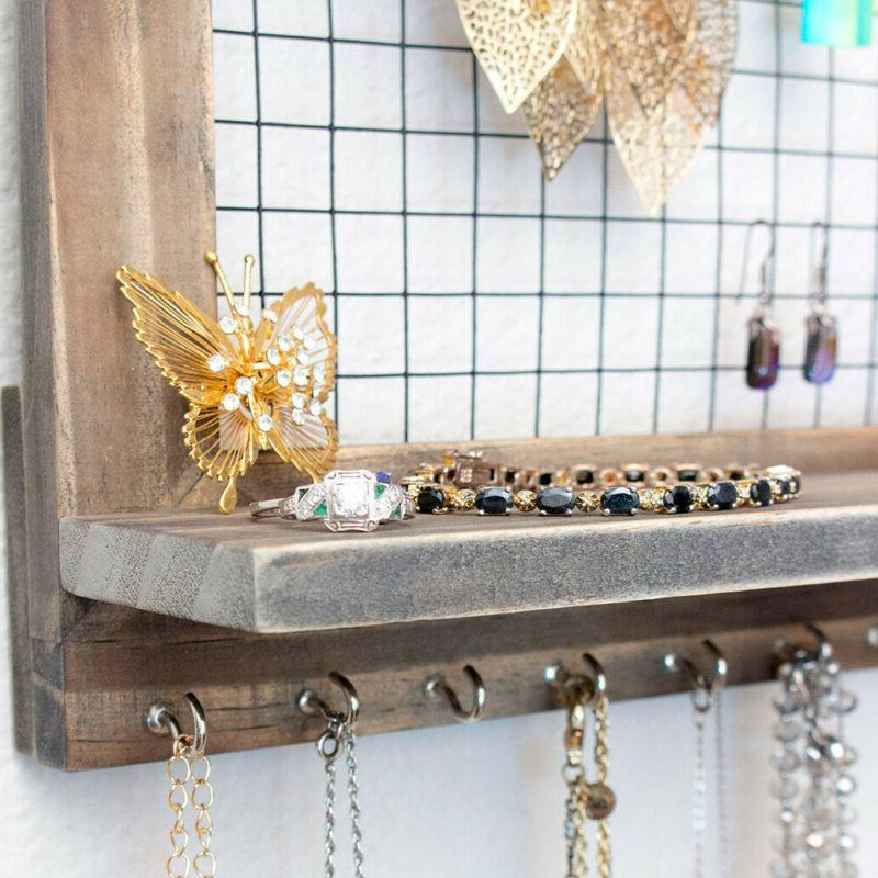 Wall Door Jewelry Wooden Accessories Organizer US