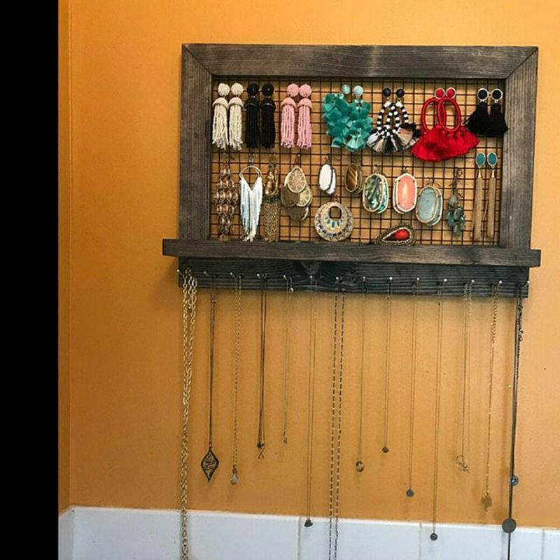 wall door mounted jewelry wooden armoire large