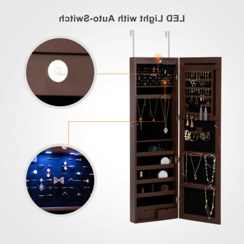 LED Mirror Jewelry Cabinet Wall Door Mounted Armoire