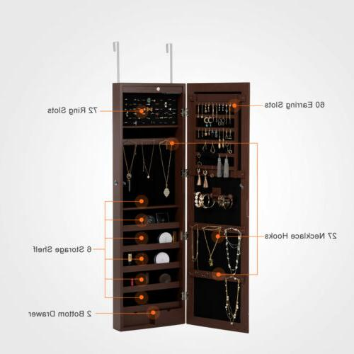 Wall Door Mounted LED Mirrored Jewelry Storage Organizer