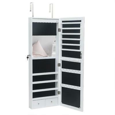 Beauty Door Mounted Hanging Jewelry Cabinet Storage w/LED Light