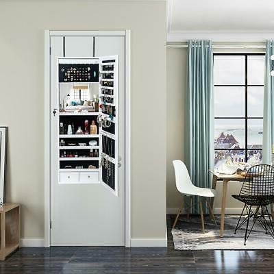 Beauty Door Hanging Jewelry Cabinet Storage w/LED Light