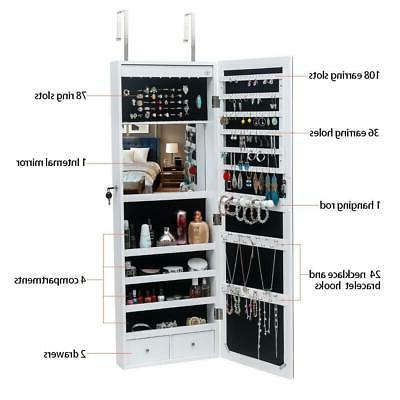 Beauty Hanging Jewelry Cabinet Armoire Storage w/LED