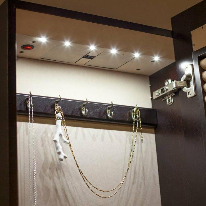 Wall Mounted Multi Purpose Jewelry Armoire Mirror with Espresso
