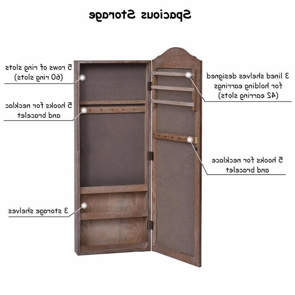Wall Wooden Jewelry Armoire Organizer Furniture