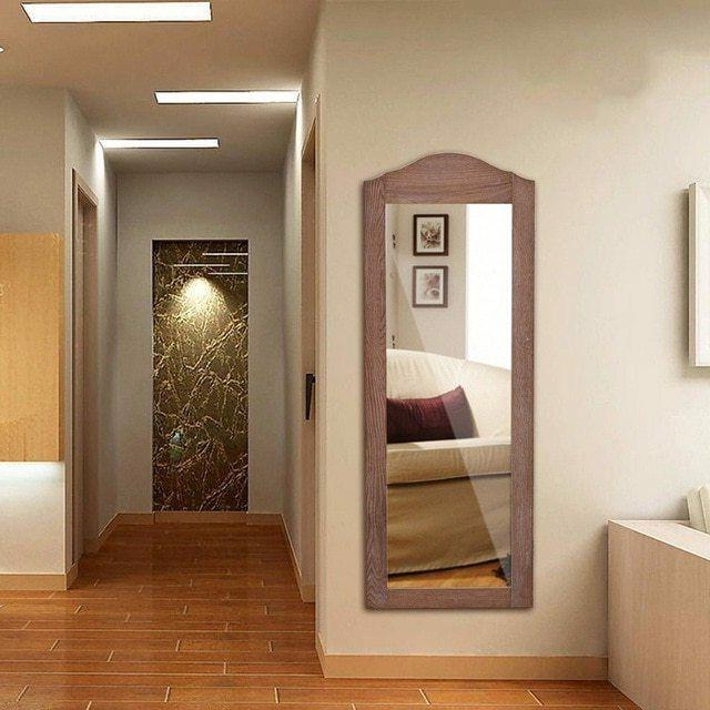 wall mounted wooden mirrored jewelry armoire storage