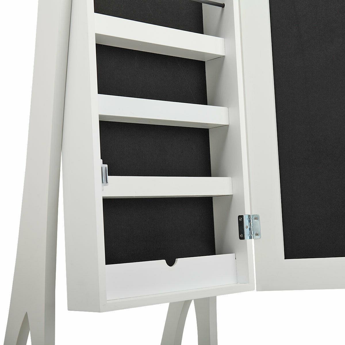 White Jewelry Lockable Cabinet Armoire Organizer Box