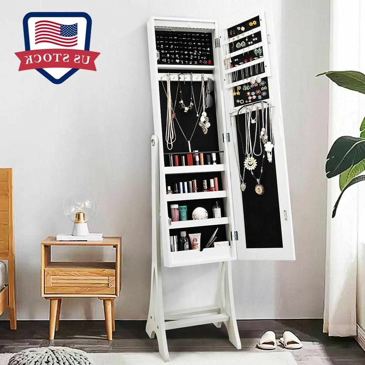 white mirrored jewelry lockable cabinet armoire storage