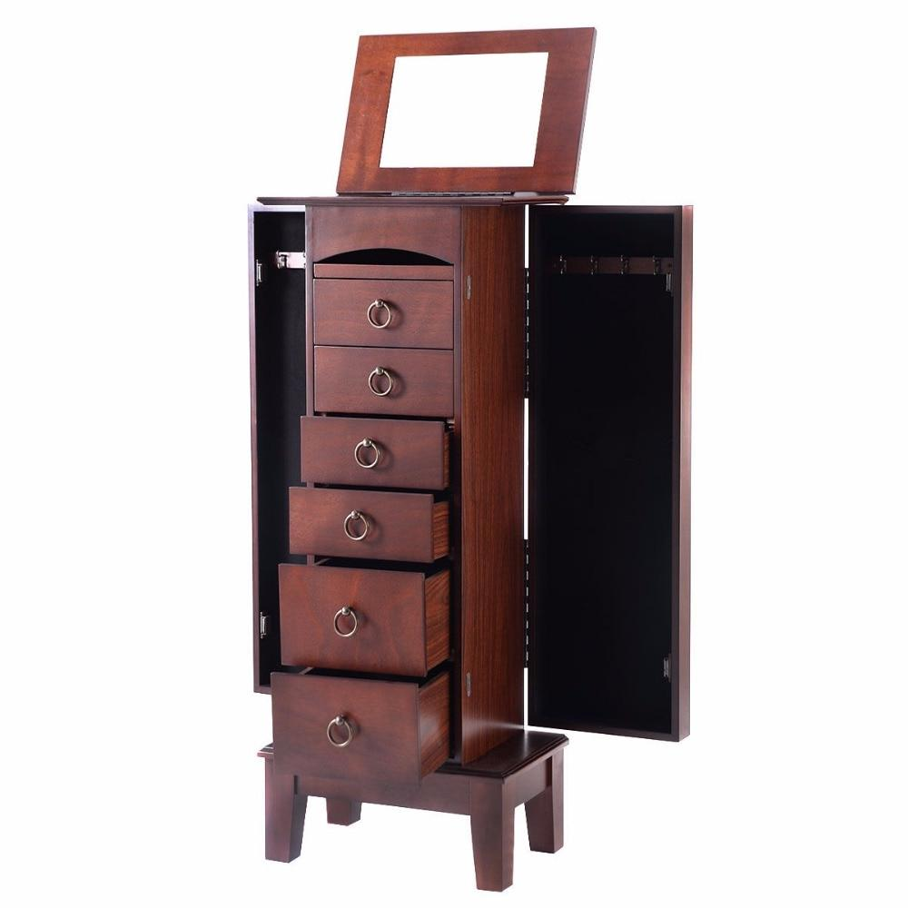 Wood Cabinet <font><b>Armoire</b></font> Storage Box Chain Retro with and Top Mirrors