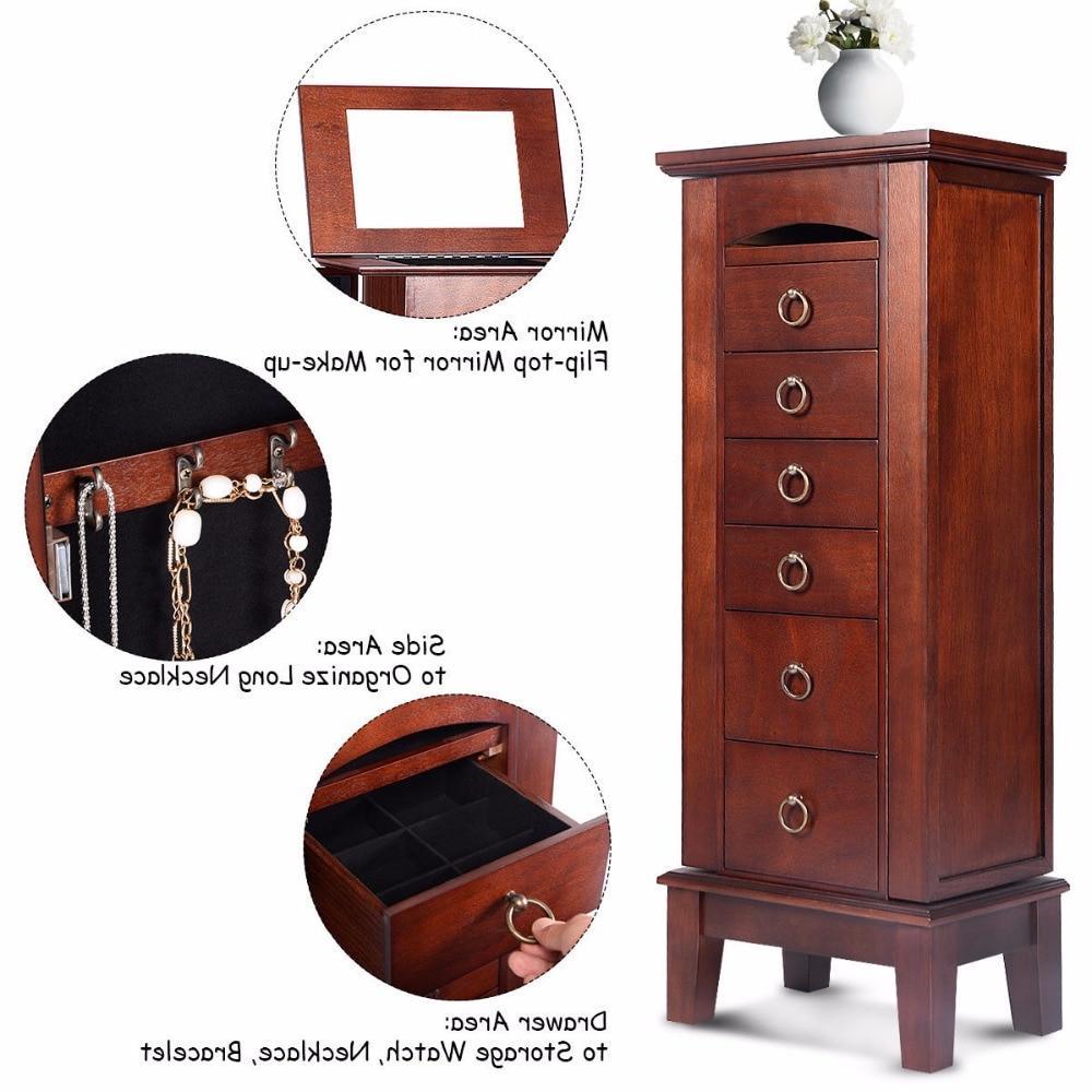 Wood <font><b>Jewelry</b></font> Storage Box Chest Chain Organizer with 6 Top