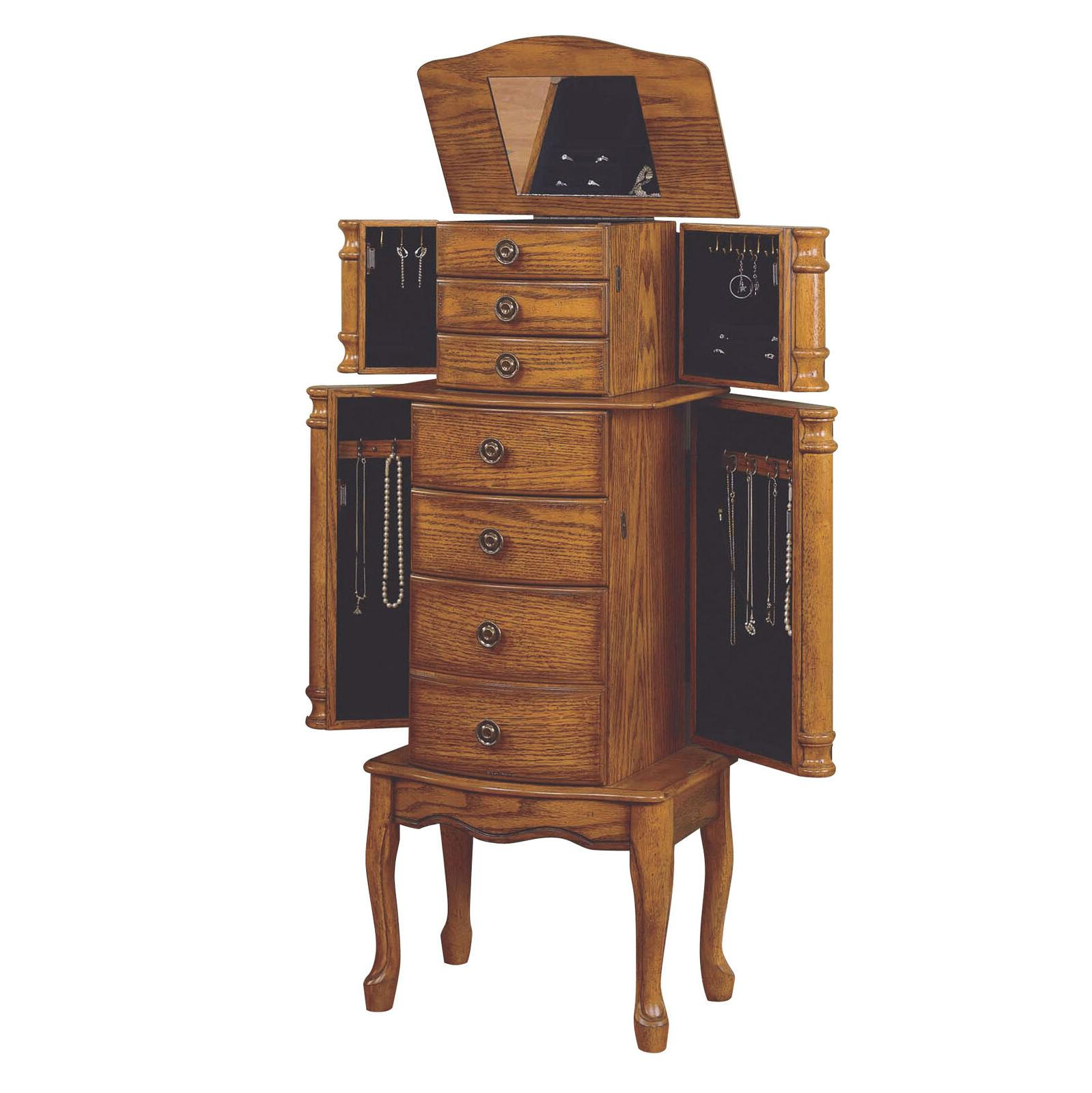 Wood Jewelry Armoire Chest Drawers Cabinet Storage