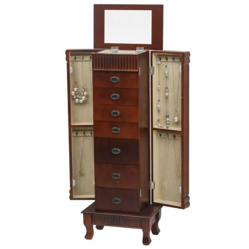 Wood Armoire Box Large Storage Space Chest Stand