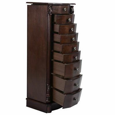 Wood Jewelry Cabinet Box Chest Organizer Christmas