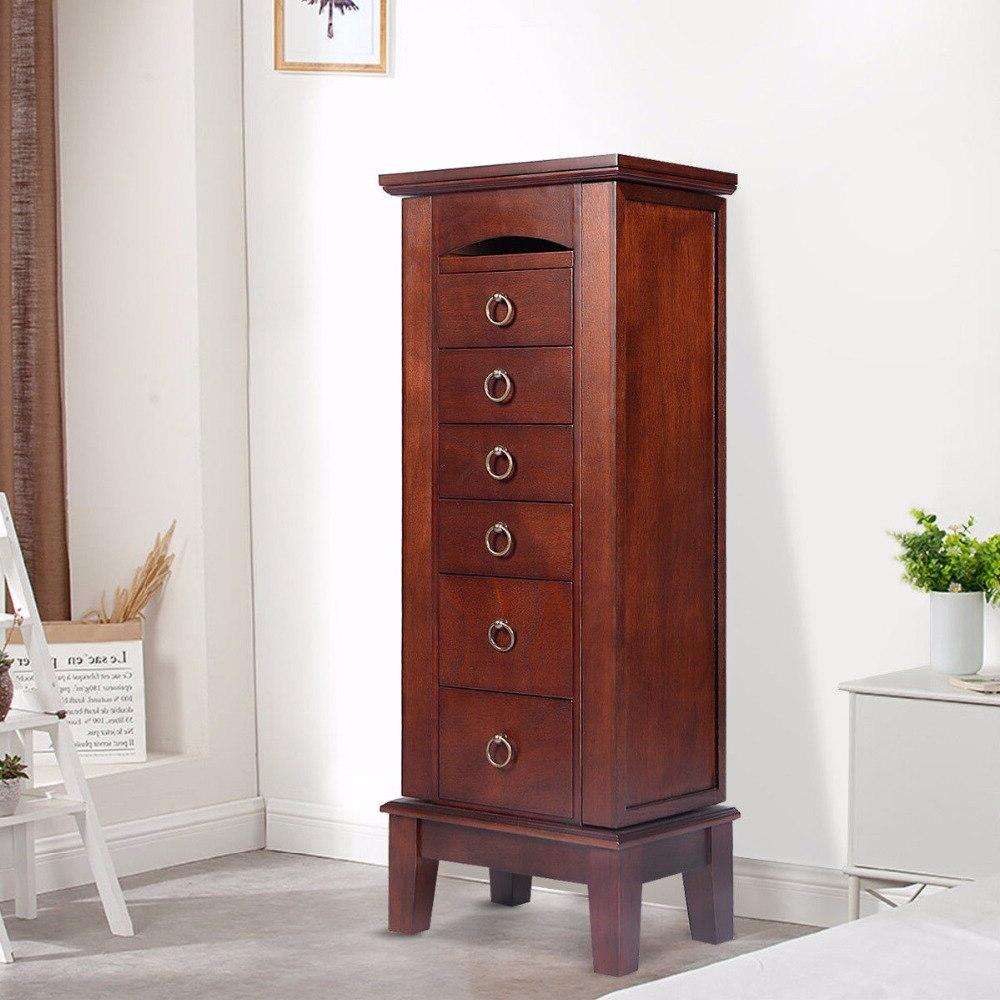 Wood Jewelry <font><b>Armoire</b></font> Storage Box Chain Retro with Drawers Top Mirrors