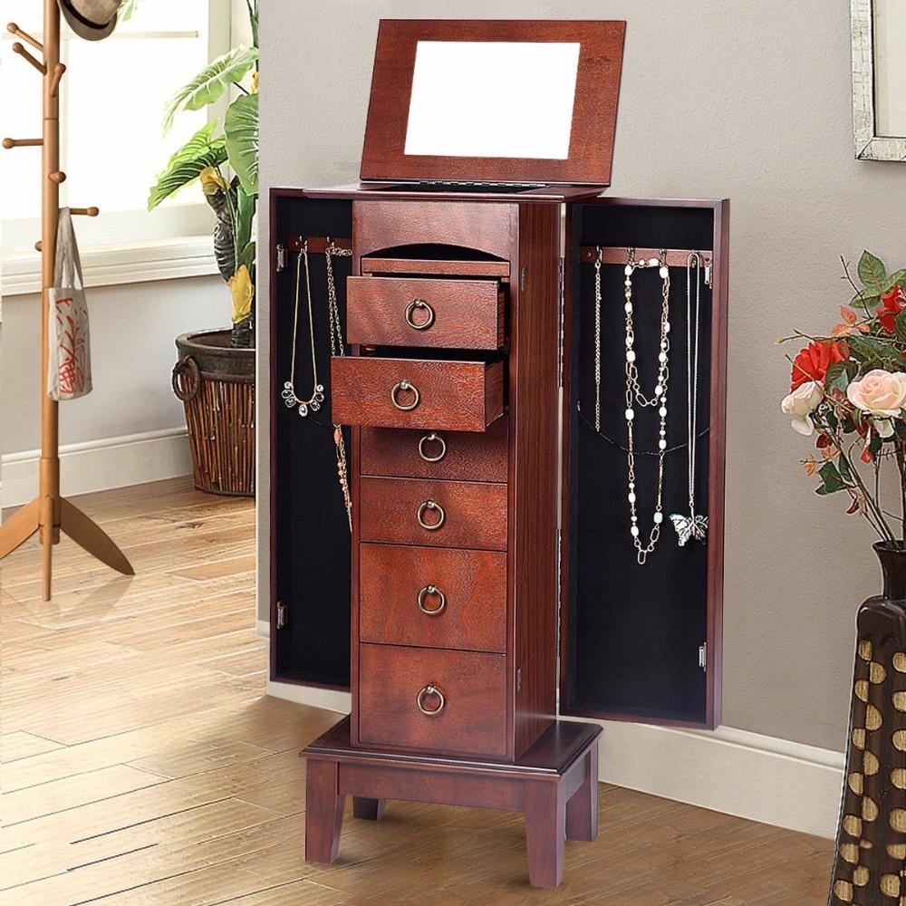 Wood <font><b>Jewelry</b></font> Cabinet Storage Chain with 6 Top Mirrors