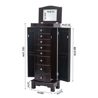 Wooden Jewelry Cabinet 8 Drawers Box Chest