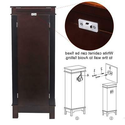 Wooden Jewelry Cabinet 8 Drawers Armoire Box Storage Chest Stand