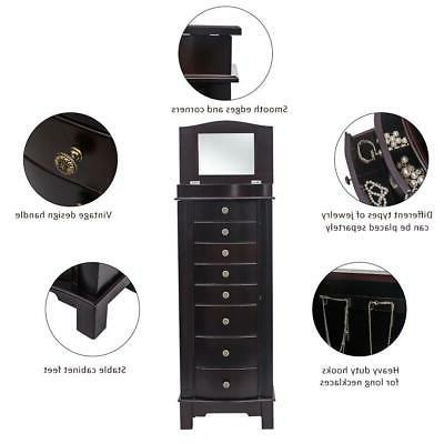 Wooden Jewelry Cabinet 8 Drawers Storage Chest Stand Organizer