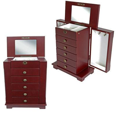 Wooden Jewelry Storage Cabinet Case Drawer W/