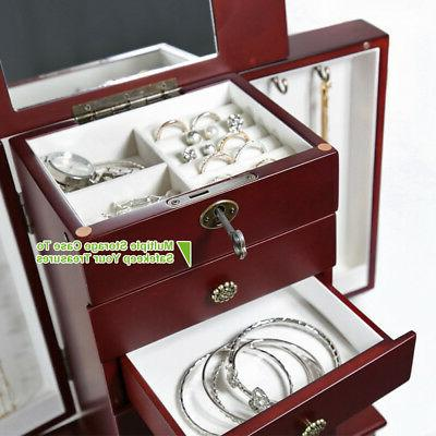 Wooden Jewelry Treasure Storage Organizer Cabinet Drawer Mirror