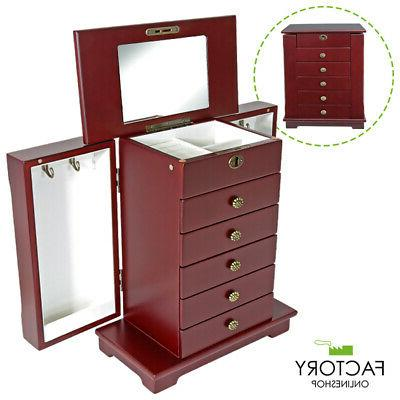 wooden jewelry treasure armoire storage organizer cabinet