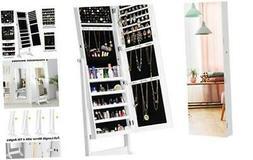 Jewelry Armoire Cabinet Full-Length Frameless Mirror, Lockab