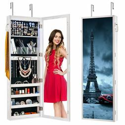 Large Jewelry Cabinet Organizer LED Mirror Armoire Wall Door