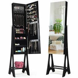 LED Jewelry Cabinet Armoire w/ Bevel Edge Mirror Organizer M