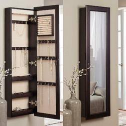 living lighted wall mount locking jewelry armoire